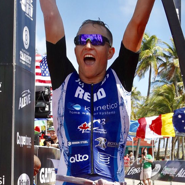 Taylor Reid at the finish line of a race