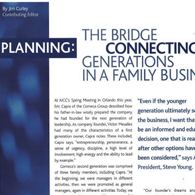 article cover of the bridge connecting generations in a family business