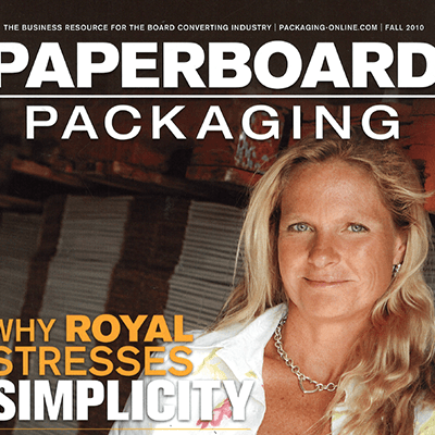 article cover with kim nelson on paperboard packaging